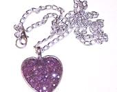 purple faux druzy glitter heart pendant on aluminum chain