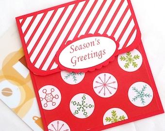 Holiday Gift Card Holder - Christmas Gift Card Holder - Christmas Money Card, Seasons Greetings - Christmas Card - Christmas Tip Envelope