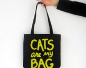 CATS are my BAG Metallic Print Funny Tote Bag, cat lover gift for mom cat lover gift for women crazy cat lady bag, book bag, text bag
