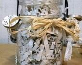 Vintage farmhouse mason jar altered art rafia spools vintage sheet music  RDT ECS