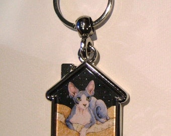 SPHYNX CAT Keyring/handbag charm with print from original painting by Suzanne Le Good