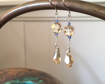 Twinkle Earrings, Dangle Earrings, Sterling Silver, Swarovski Crystal, Gifts for Her,