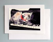 Greeting Blank Card / Siamese cat art / Watercolor note / Kitten on piano kitty cat painting / Ephemera occasion birthday thank you 7 x 5 A7