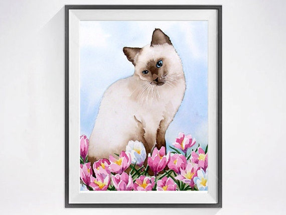 21. Siamese Cat Art PRINT Watercolor Cat Painting Siamese Kitty cat lovers Spring flowers floral art Animal art blue painting pink  C