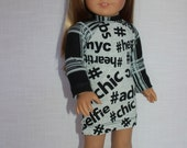 18 inch doll clothes, baseball style dress, #hashtag print dress, graphic print  dress ,  Upbeat Petites