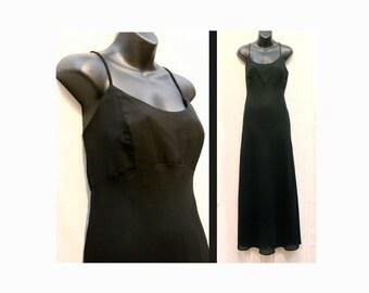 HAMPTON NITES Long Black Spagetti Strap Dress