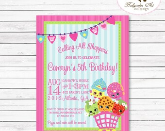 Shopkins Invitation, Shopkins Invite, Shopkins Birthday Invitation, Shopkins Party, Shopkins Party Invitations, Shopkins Printable, Pink