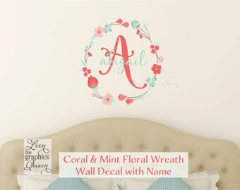 Coral Mint Wall Decal • Monogram and Name with Floral Wreath • Personalized Gift Baby Nursery Teen Girl Room Decor Coral White Mint
