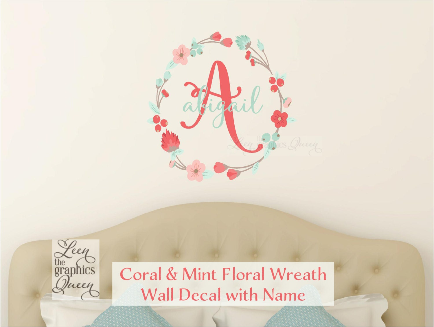 Coral mint wall decal monogram and name with floral wreath zoom amipublicfo Gallery
