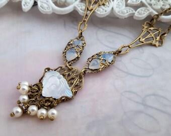 Femme Art Nouveau necklace, Art Nouveau jewelry, Lalique inspired, Feninine art glass jewelry, Deco antique bronze necklace, Belle Epoque