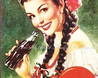 Digital Download Vintage PostCard and Calendar Images Beautiful Girl Drinking Coca Cola 0008