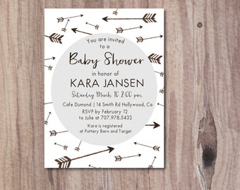 Printable Arrow Baby Shower Invitation, Gray Baby Shower Invitation, Modern Baby Shower, DIY Printable boy or girl
