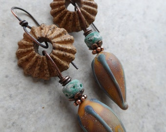 Earthy Pods ... Artisan-Made Lampwork, Ceramic and Copper Wire-Wrapped Rustic, Boho, Earthy, Woodland Earrings
