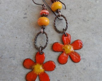 Welcome Summer! ... Enameled Copper, Artisan-Made Lampwork and Copper Wire-Wrapped Rustic, Boho, Floral, Woodland Earrings