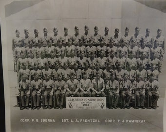 1943 604th Platoon US Marine Corps, San Diego US Marines 1st to Fight Photograph, Corp. Sberna, Sgt Frentzel, Corp Kamnikar, Alden V. Nelson