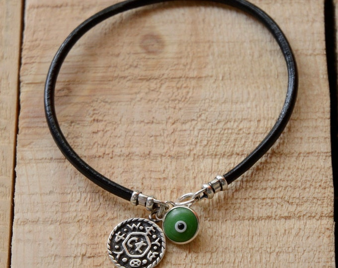 Livelihood Solomon Seal with Green Evil Eye Charm on Leather Bracelet