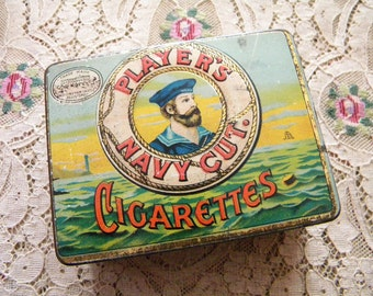 Vintage Tin Litho Cigarette Box Player's Navy Cut with Handsome Sailor