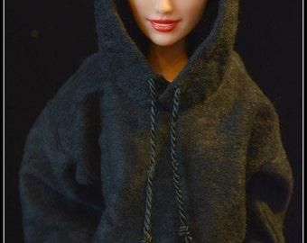 Barbie Hoodie Black Made to Order Barbie Clothes Fashionista Original Barbie Curvy Barbie Petite Barbie Tall Barbie