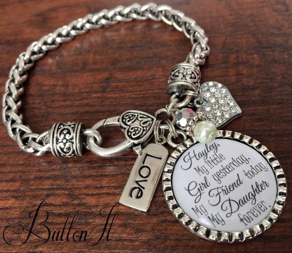 Mothers Charm Bracelet: Mother Daughter Bracelet Personalized Wedding Mother