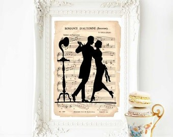 Art Deco dancing couple print, French decor, vintage music sheet, home decor, 1920s, flapper, silhouette, gramophone, phonograph, wall art