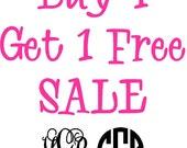 Buy 1 Get 1 Free Sale Monogram Vinyl Decal