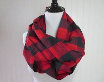 Buffalo Plaid Scarf - Flannel Scarf - Red Plaid Scarf - Large Check Buffalo Plaid - Chunky Scarf - Circle Scarf - Red Buffalo Plaid Flannel