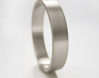 3x1.3mm White Gold Wedding Band | 14k 18k White Gold Ring | Eco friendly | Flat Edge Wedding Band | Matte Brushed Finish | Recycled Gold