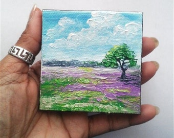 "Mini Oil Painting Landscape Tree Lavender field 3""x 3"" READY to SHIP"