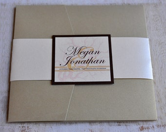 Pocket Fold Wedding Invitation Design Fee (Light Gold, Ivory, and Coral Design)