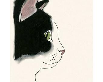 "Cat art print black and White cat print - 4"" X 6"" kitty print - 4 for 3 Sale"