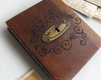 Old wood book Diary Keyhole  Hand engraved swirls