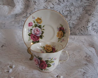 Vintage Rosina Teacup & Saucer, Fine Bone China, Est. 1875, Made in England