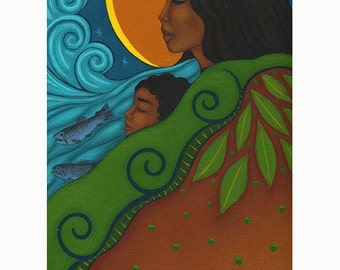 Mother & Child Folk Art Print of Midwifery Doula Portrait Painting by Tamara Adams