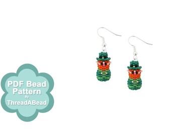 Bead Pattern: Mini 3D Beaded Irish Leprechaun Earrings
