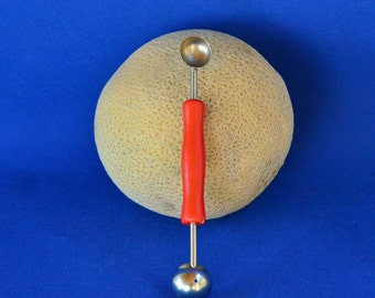Double Sided Melon Baller with Red Wooden Handle - Vintage Kitchen Tool