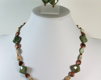 DragonEmbroidery's Beautiful Jasper & Copper Beaded Necklace with Matching Earrings