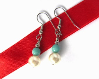 Faux Pearl and Vintage Blue Bead Dangle Earrings