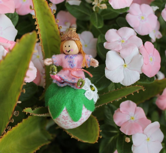 Little Girl Pixies Playing with Straberries, Felt art doll on plush fabric strawberry, hanging ornament