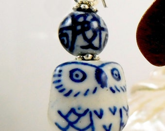 Cute Porcelain Owl Earrings With Sterling Hooks