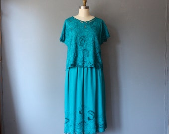 vintage 80s 2 piece skirt top set / teal cut out top / small