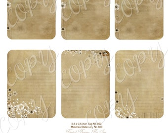 Instant Download  - Tags No 800 - ACEO - Digital Download - Printable  Digital Collage Sheet