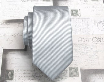 Mens Neckties Silver Gray Stripes Mens Skinny Ties