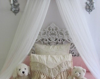 Crown Canopy Crib Baby Nursery Decor Shabby Chic Princess Bed Girls Bedroom FREE White curtains Cottage Vintage inspired Chalk paint SALE