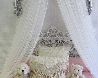 Shabby Chic Princess Bed Crown Canopy Crib Baby Nursery Decor Barnwood RuStiC Bedroom FREE White curtains Vintage inspired Chalk paint SALE
