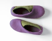 New 2016 collection Envelope Slippers - Felt natural wool handmade slippers - Lilac Olive - valentines day gift