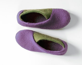 New 2016 collection Envelope Slippers - felted wool slippers - Lilac Olive - womens slippers handmade natural wool
