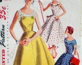 Vintage 1950s Yoked Dress Pattern Simplicity 1207 Bust 36 Factory Folded Flared Gored Skirt