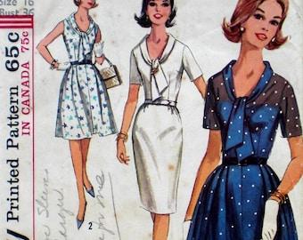 Vintage 1960s Tie Neck Dress Pattern Simplicity 5891 Full Skirt Slim Skirt Bust 36 Factory Folded Ascot Neckline
