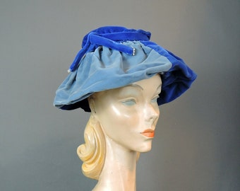 Vintage 1950s Hat Gathered Blue Velvet in 3 shades, fits 22 inch head, Unusual Hat, Created by Marilyn