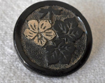 ANTIQUE Black Glass with Silvered Flower BUTTON